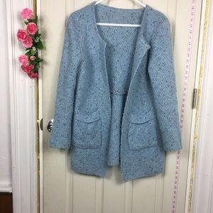 Blue Cardigan Sweater Open S/M Knit